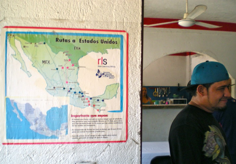 "Map of traditional migrant routes across Mexico. Casa del Migrante ""Hogar de la Misericordia"" in Arriaga, Mexico. 3 Aug. 2015. Photo by Lacey Schauwecker."