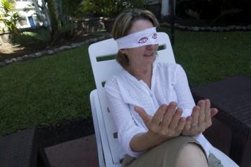 Diana Taylor blindfolded. Tapachula, México.