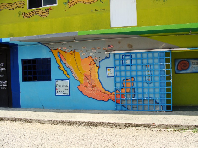 Painted Mural of Mexico and Central America. La 72 Shelter. 07 August 2015. Photo by Sarah Palay