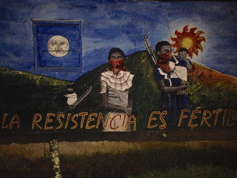"""La Resistencia Es Fertil"" mural from the Zapatista community at Oventik. Photo by Grace McLaughlin."
