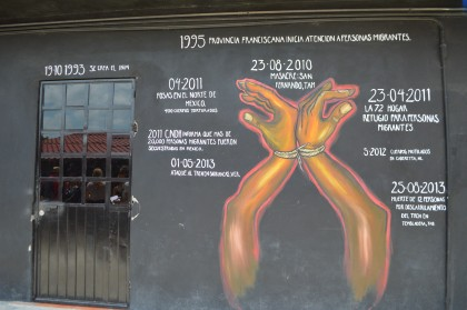 Timeline mural of key moments in the history of migration in Mexico at La 72