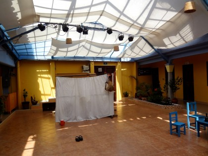 "Stage set for the play, ""Buscando Nuevos Caminos"" given by FOMMA actresses at FOMMA. Photo by Janice Amaya."