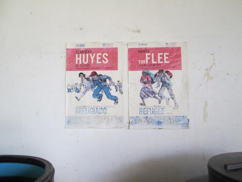 Two migration posters displayed in Casa del Migrante Hogar de la Misericordia. Arriaga, México. 03 August 2015. Photo by Diana Gluck.